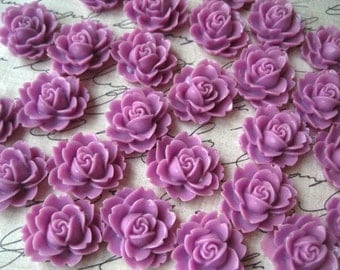 Resin Cabochon / 6 pcs Lilac Ruffle Rose Resin Flowers / Rose Cabochons 18mm x 16mm