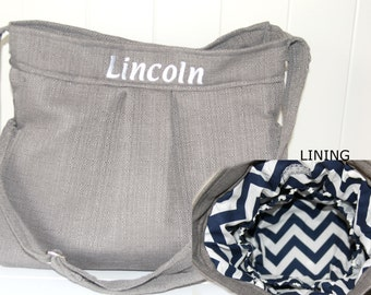 EMBROIDERED Stone Grey Diaper Bag with Navy Chevron Lining