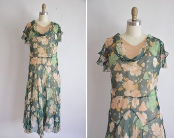 20s Affaire de Printemps dress/ vintage 1920s chiffon dress/ 20s floral chiffon dress