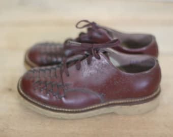vintage brown leather oxfords boy's size 6 new old stock red goose shoes