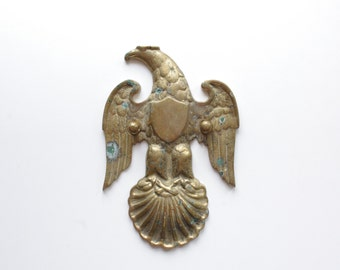 Vintage Brass Eagle Door Decor - Brass Patina - Eagle