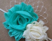 Aqua and Ivory with Veil shabby flower headband