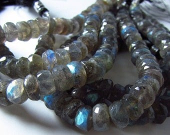 Labradorite Hand Faceted Rondelle Beads 7mm - 8mm