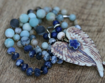Boho Rustic * Angel Wings and Heart * Necklace - ooak, elongate, unique, artisan beaded, long, knotted, thread, blue, Amazonite stones, long