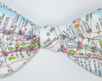 Men's Freestyle Bow Tie New York City NYC Subway Self Tie IRT Manhattan B Bowtie