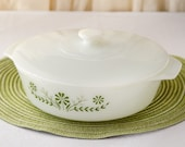 Vintage Milk Glass Green Flower Baking dish with Lid