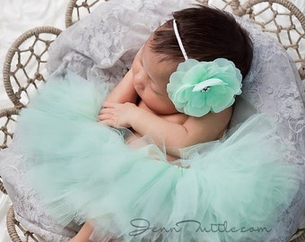 Newborn tutu set, mint tutu set, first birthday outfit, mint tutu with matching flower headband, baby tutu set