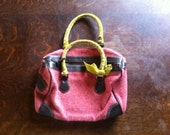 Pink Tweed Purse with Lime Green Velvet Handles and Dark Brown Leather Trim