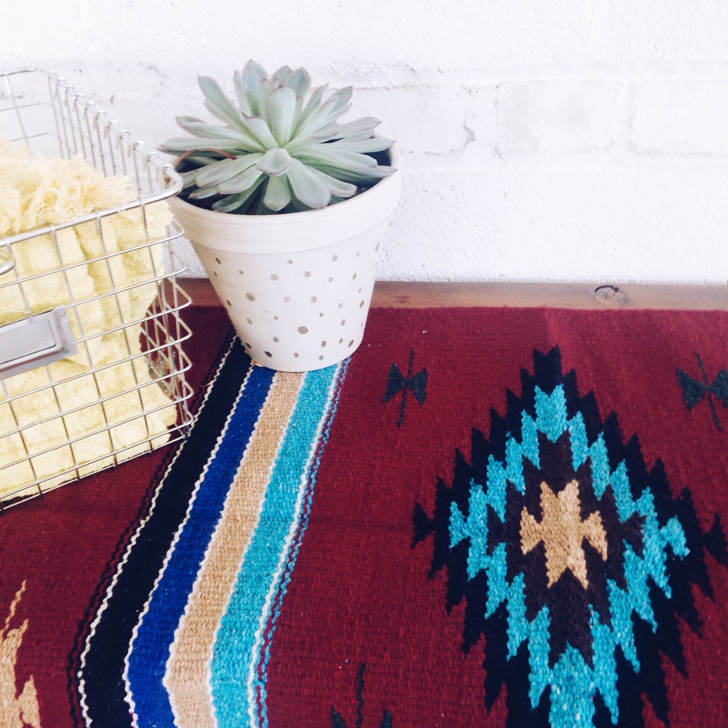 Southwest Mexican Navajo Textile Rug Table Runner Fabric Wall