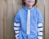 Boys Skinny Linen Tie - Natural - Neutral - Beige - Little Guys Tie