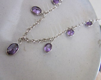 Sterling Silver Amethyst Necklace - Set of Amethyst Necklace and Earrings