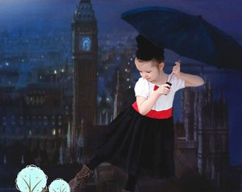 Mary Poppins Costume Dress, School Play,  Pretend, Dress-up, Photo Shoot, Birthday Party, Recita, Disney Vacation