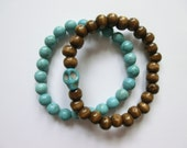 Wood/Turquoise Stretch Bead Bracelet (Set of 2)- Turquoise and Brown Wood with Howlite Stone Skull