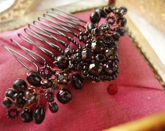 Black Goth Hair Accessories. Vintage Style Hair Comb with Rhinestone. Antique Copper Hair Brooch. Jeweled Headpiece Steampunk. Downton Abbey