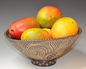 Sgraffito serving bowl, punch bowl, fruit bowl, brown & white sgraffito and gorgeous green glaze, wedding gift