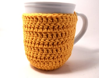 Crochet cup cozy coaster Gold-Mug cozy coffee cup cozy Spring Summer and Fall