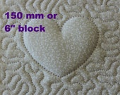 EMBROIDERY PATTERN 150 mm in-the-hoop quilt block - trapunto heart for 150 mm hoop