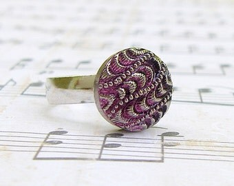 Amethyst Wave - adjustable Czech glass button ring, repurposed jewelry
