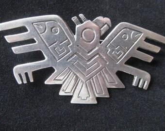 Handsome Vintage Big Casa Welsch Peru 900 Silver Aztec Mayan Meso American Deity Quetzalcoatl Folk Tribal Brooch Pin