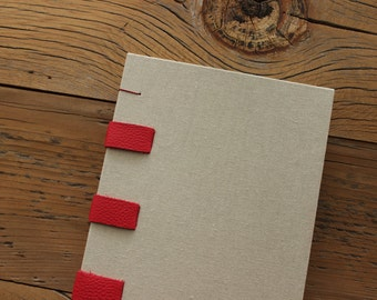 Red, Leather & Linen Journal - The Uncut Book