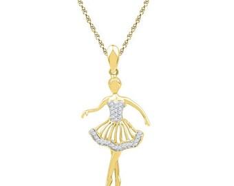White diamond prima ballerina princess yellow gold pendant