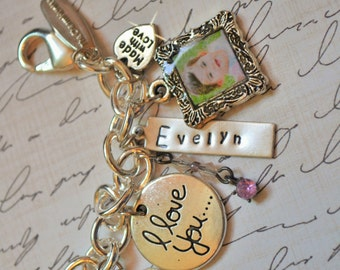 Custom Family Charm Bracelet with Photo Charms, Hand Stamped Name Tags & Charms that say I Love You!  Perfect Gift for Mom, Wife or Grandma