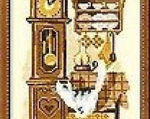 Grandfather Clock and Cat Cross Stitch Kit By Riolis on 16 Count Aida 18 x 24cm