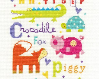 Animal Alphabet Sampler Cross Stitch Kit By DMC 14 Count Size 23 x 30cm