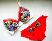 SHEERLY SUPER Set: White Bra with SuperGirl Comics Fabric and and Matching Ruffled Panties