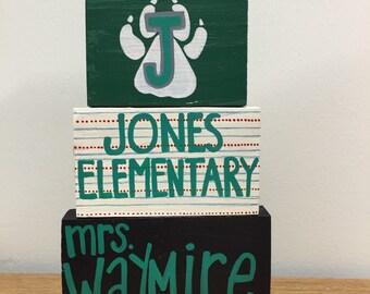 Elementary Teacher Wood Block Name Shelf Sitter Personalized Customized