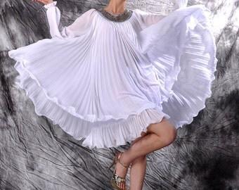 white chiffon pleated dress,beading dress,chiffon dress,Pleated dress,chiffon maxi dress,spring dress,summer dress,prom dresses