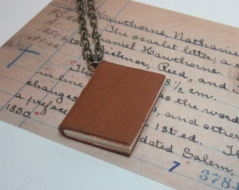 Book Lovers Necklace, Miniature Book Necklace, Handmade Book Jewelry, Blank Book Necklace, Leather Book Necklace, Book Charm Necklace