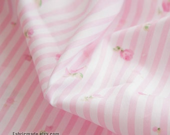 Cotton Fabric Pink Stripe With Rose Shabby Chic For Quilting