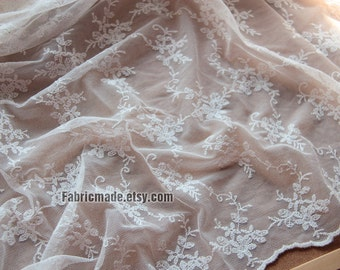 White Embroidery Lace Fabric, White Floral Netting Tulle Fabric For Wedding Dress Curtain- 1/2 Yard