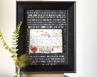 Anniversry Gift - Wedding Vow Art - State Map and Heart - Personalized Decor