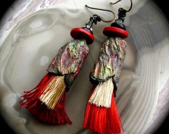 Venetian Splendor, mixed media jewelry, tassel jewelry, unique, red gold black, assemblage earrings, ceramic pods, faux raku, AnvilArtifacts