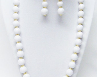 """Round White Acrylic Bead Necklace & Earrings Set (21.5"""", No Stone, Gold Findings)"""