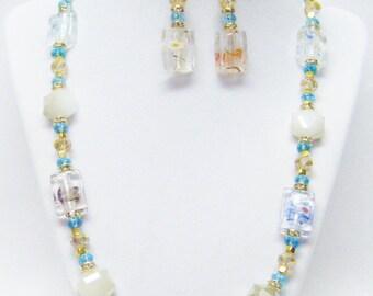 Silver Foil Lined Rectangle Glass Bead Necklace/Bracelet/Earrings Set