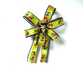 Little boy's party decoration, Gift wrap bow, Super hero in black and yellow costume, Bow for small boy, Small birthday gift bow,  (FN71)