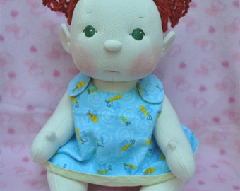 "SALE! Fretta's BeBe Cheeks Doll. Fair Skin, Green Eyes, Red Hair Baby. Jointed 43 cm /17"" Soft Sculpture Girl. Child Friendly Doll."