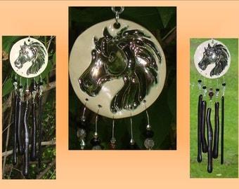 Black Horse Glass Windchime, Ceramic Wind Chime, Mobile Window Suncatcher, Stained Glass Garden Decor, Equestrian Pottery Art
