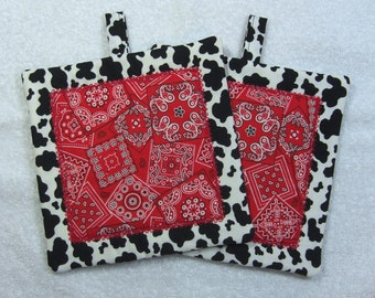 Western Theme Pot Holder Quilted Embroidered Hot Pad Set of 2 - Hot Pad/Pot Holders Trivet Ready to Ship