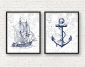 Vintage ship art, nautical art, anchor art print, nautical bathroom decor, vintage nursery nautical decor, sea life prints, A-2010