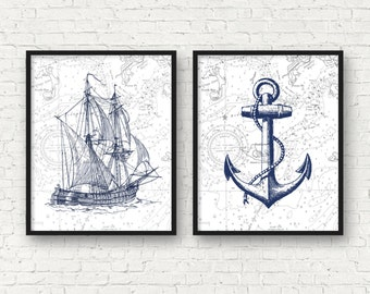 Vintage ship art, nautical art, anchor art print, nautical bathroom decor, vintage nursery nautical decor, sea life prints, A-2010