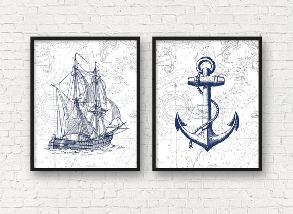 Antique Nautical Bathroom Ideas: Vintage Ship Art Nautical Art Anchor Art Print Nautical