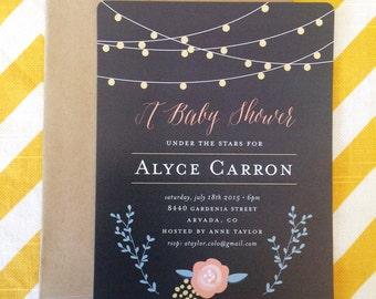 Under the Stars string light baby shower invitation, calligraphy unisex baby shower invite, floral vine and chalkboard baby shower invite