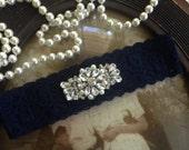 SALE-Garters-Wedding Garter-Navy-Ivory Garter-Bridal Garter-Vintage Garter-Something Blue Garter-garter belt-pearl-blue garter-Rhinestone