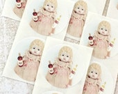 "Adventures of Claudia Round Wine Bottle Doll Stickers 1.5"" Seals China Doll Labels Alcohol Humor"