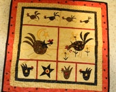 Rooster Whimsical Quilted Wall Hanging