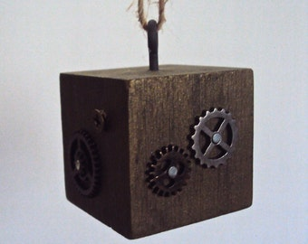 Steampunk Gear Ornament - Industrial Wood & Cogs Cube - Steampunk Gift - Gold Bronze Ornament - Steampunk Decoration - Christmas Ornament
